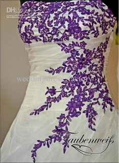 awesome white with purple accents wedding dress