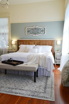 Master bedroom in aqua and white - Historic vintage Southern Romance home