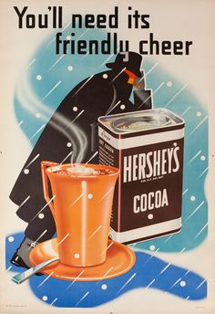 1920s Hershey's Cocoa vintage advert poster