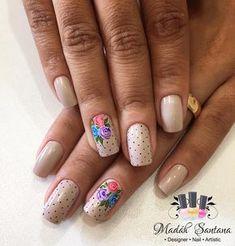 Acrylic Nail Designs, Nail Art Designs, Acrylic Nails, Beige Nails, Flower Nail Art, Super Nails, Easy Nail Art, Spring Nails, Manicure And Pedicure
