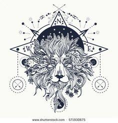 Mystic lion tattoo art. Alchemy, religion, spirituality, occultism, tattoo lion art and t-shirt design