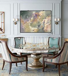 Large Abstract Oil Painting Wall Art Wall Decor Modern Art Original Painting with Texture Abstract Painting On Canvas by Julia Kotenko by JuliaKotenkoArt on Etsy Dining Room Walls, Dining Room Design, Dining Room Furniture, Living Room Decor, Dining Chairs, Dining Room Wallpaper, Luxury Dining Room, Unique Wall Art, Modern Wall Decor