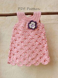 Crochet pattern, Baptism baby girl dress pattern, Christening dress for baby girl 0-6 month