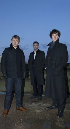 John, Inspector Lestrade, and Sherlock --- Looking like a band. <- Lestrade and the Baker Street Babes.