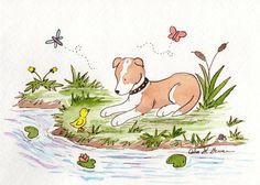 Puppy Dog Nursery Art Staffordshire Terrier Art by JasperAndRuby Puppy Nursery, Baby Nursery Art, Dog Illustration, Watercolor Illustration, Watercolour Drawings, Illustrations, Watercolor Art, Big Dog Toys, Dog Breeds Little