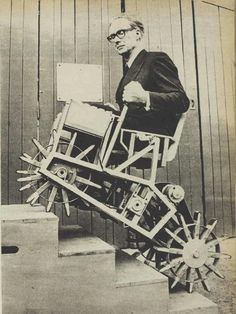 Prof. Meredith Thring with his Stair-climbing Chair.