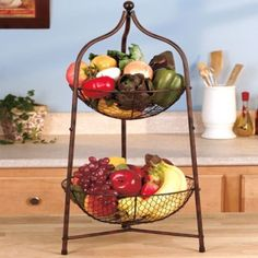 2-Tier Storage Basket Fruit / Nuts Rustic Primitive Bronze Kitchen Collection #Country
