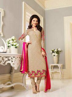 Urvashi Rautela Beige Georgette Churidar Salwar Suit 89499