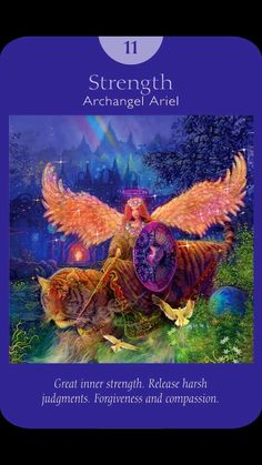"""#Tarot - Strength - This card comes to you because you need to know that you're stronger than you realize. You can definitely handle your current situation. However, instead of """"powering through it,"""" you're better off with an approach of compassion, kindness, and gentleness. The strength that this situation calls for comes from the softness of a spiritual core. Archangel Ariel is the angel of spirit and nature. Because Ariel is so close to earth, she helps with day to day material needs…"""