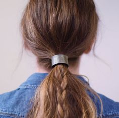 Leather Hair Cuff Ponytail Holder in Gunmetal size 4inches
