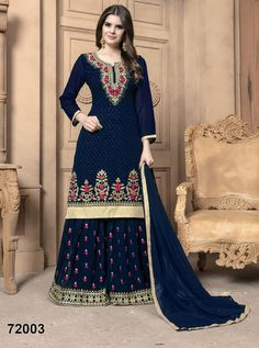 Black Color Faux Georgette Diamond Work Sharara Style Pakistani Suit This designer black salwar kameez will give you a confident and stylish look to you with its beautiful serosky diamond work all over. This party wear salwar kameez can be paired along Churidar, Salwar Kameez, Sharara Suit, Anarkali Suits, Kurti, Patiala, Indian Attire, Indian Ethnic Wear, Indian Outfits