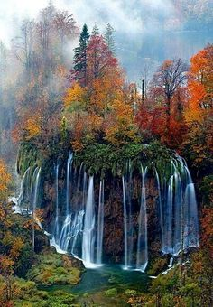 Plitvice National Park, Croatia. Might have to go in the Fall...