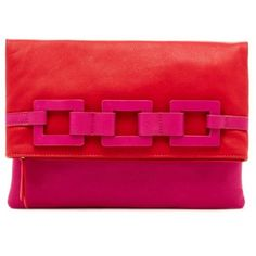Trina Turk Cranberry Tiki Twist Clutch ($278) ❤ liked on Polyvore featuring bags, handbags, clutches, cranberry, colorblock purse, fold over handbag, chain handbags, chain strap purse and red clutches