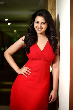 #ParineetiChopra in a red hot dress.