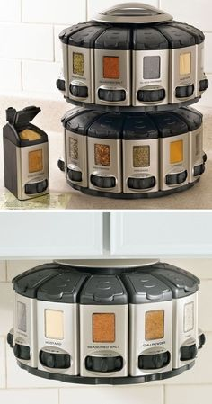 Space-Saver spice carousel with built in measurements. #crazydesign