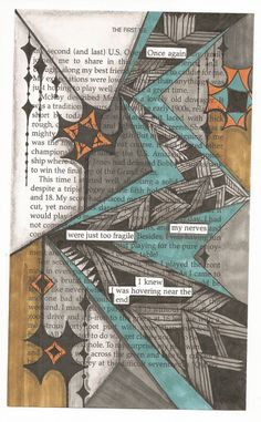 Book page, Micron pen, Bic marker..black and color, graphite shading, and white Uniball pen highlights.