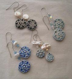 snowflake earrings. polymer, pearl, crystal