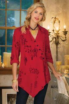 Pagoda Shirt - Red Blouse, Chinese Print Shirt, Asian Print Shirt | Soft Surroundings