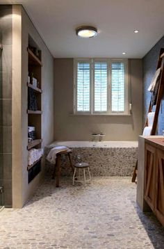 I love The warmth of wood in The bathroom..... gorgeous!