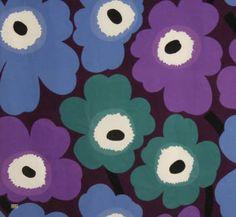 Latest Designer Fabric 'Pieni Unikko in Violet, Lilac, Green and Blue' by Marimekko (FIN).