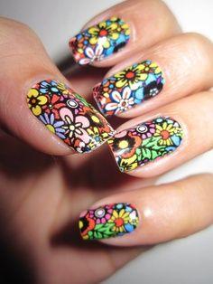 hippie chic,, love it Nail Art Hippie, Hippie Nails, Chic Nails, Fun Nails, Pretty Nails, Nail Polish Art, Nail Polish Colors, Fingernail Designs, Nail Art Designs