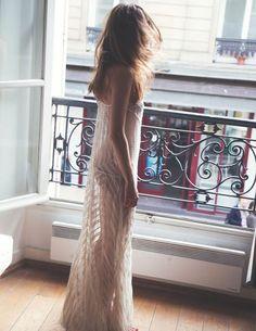 Long white lace women dress. summer fashion. Transparent. Women clothing, apparel