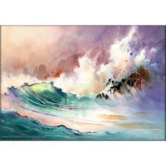 On the Rocks Watercolor Painting Print by Michael David Sorensen. ($30) ❤ liked on Polyvore featuring home, home decor, wall art, ocean wall art, colorful home decor, sea home decor, colorful paintings and sea painting