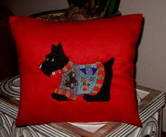 Christmas Scottie Suede Pillow Embroidered Decor by MooseLaguna, $22.00