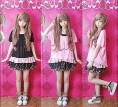 Mei Ling myk sommeren sin tøffe tøffe av ikke-mainstream klær 90 jenter sommer ny dukke krage chiffon kanten T-skjorte