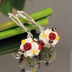 #Artisan #Handmade #Jewelry #Flower #Handmade #earrings #lampwork #flower #dangle #Drop #floral