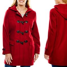 "Liz Claiborne Wool-Blend Toggle Coat Plus Size 3X Keep it classic in this wool-blend toggle coat, complete with cozy details like a hood and front pockets to keep your fingers warm. front pockets. 34"" length from shoulder red and black solids: wool/polyester/other fibers blk/white novelty: wool/nylon dry clean only imported Liz Claiborne Jackets & Coats"