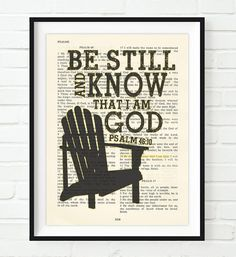 Be Still and Know that I am God- Psalms 46:10-Vintage Bible Highlighted Verse Scripture Page- Christian Wall ART PRINT