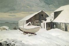 Frederick Waugh, Docks of Provincetown in Winter, Made of oil on board