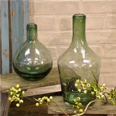 Green Glass Vase - Large: Piper Classics