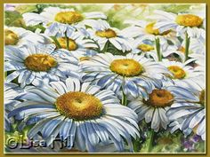 Tutorial about how to paint a field of daiseys - watercolor. Fantastic demos on many paintings.  Lisa Hill