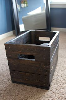 "Organize their ""stuff"" with a DYI-rustic storage box from a pallet"