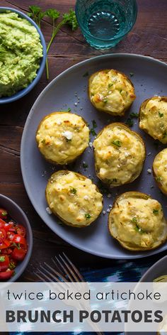 Twice Baked Artichoke Brunch Potatoes, an easy make-ahead recipe that will be perfect for a holiday breakfast or brunch! Gluten-free