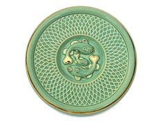 Art Deco Ceramic Fish Trivet. Aqua and Gold Cheese Platter.