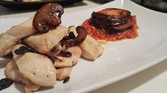 Pollo ai funghi e tortino di melanzane alla parmigiana