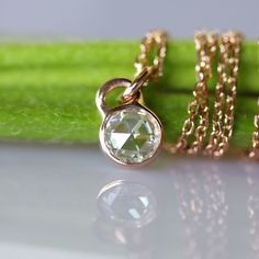 Rose Cut Moissanite in 14K Yellow, White or Rose Gold - Made to Order. $310.00, via Etsy.
