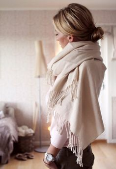 Bring a neutral, versatile colored scarf to work - you never know what temperature the office will be!
