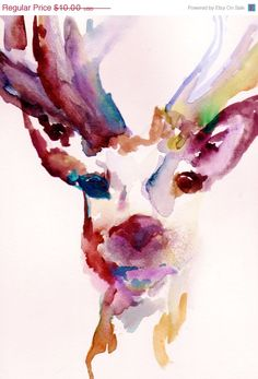 """On Sale Christmas Special - Print of Original Watercolor Painting, Titled: """"Deer"""" by Jessica Buhman 11 x 14 Pink Yellow Blue Brown Black Re. $6.00, via Etsy."""