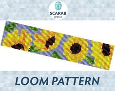 Looking for your next project? You're going to love Sunflowers Pattern Loom Bead Cuff by designer ScarabJewels.