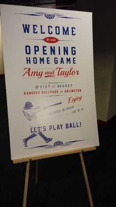 baseball themed wedding | Baseball/Sports Themed Wedding Welcome Sign | Special Events