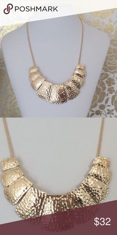 Gold Hammered Necklace Gorgeous gold hammered necklace. 14k gold plated. Nickel free. *will be available to ship 11/28. T&J Designs Jewelry Necklaces