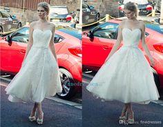 Wholesale Ball Gown Wedding Dress - Buy 2014 Simple White Sweetheart Applique Waist Beads Drill The Back Zipper Ball Gown Wedding Dresses Tea-length A-line Wedding Gowns Cheap, $103.73 | DHgate