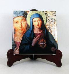 New icon on ceramic tile available. #Immaculate #Heart of Virgin Mary Now available on #Etsy - Two sizes available. A perfect (and cheap) religious gift idea :) https://www.etsy.com/listing/508159833