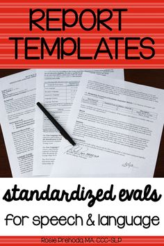 Report Templates for Speech-Language Pathologists Money saving bundle of 18 standardized evaluation report templates. Save insane amounts of time writing reports!