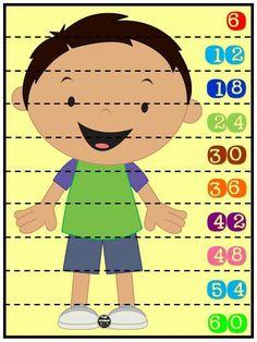 Rompecabezas numéricos para niños. Conteo de 6 en 6. Plastificar y recortar por la línea punteada.