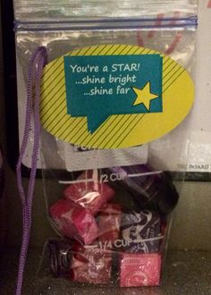 """Good luck at dance competition treat for the dancer's locker. The was """"light up the dance floor"""" so treat bag has a little flashlight & starburst candy."""